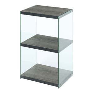 SoHo Weathered Gray Three-Tier Tower Bookcase