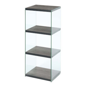 SoHo Weathered Gray Four-Tier Tower Bookcase
