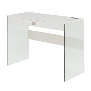 SoHo White Glass Desk with Charging Station