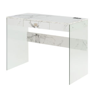 SoHo Faux White Marble Glass Desk with Charging Station