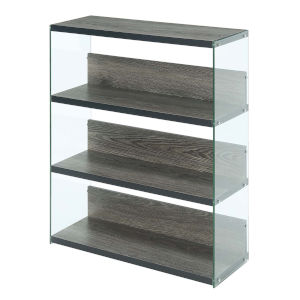 SoHo Weathered Gray Four-Tier Wide Bookcase
