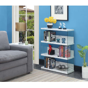 Soho 4 White Faux Marble 12-Inch Four Tier Wide Bookcase