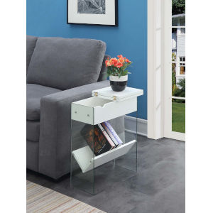 SoHo White 24-Inch Electric Flip Top End Table
