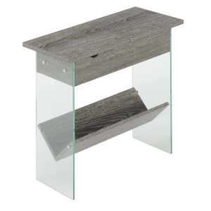 SoHo Weathered Gray Electric Flip Top End Table