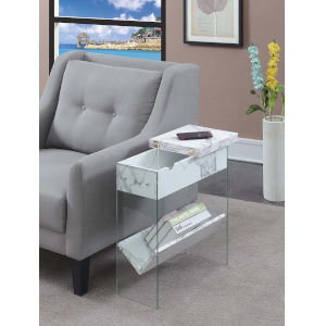 SoHo White Faux Marble 24-Inch Electric Flip Top End Table