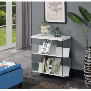 Soho White with Glass 28-Inch Book Case