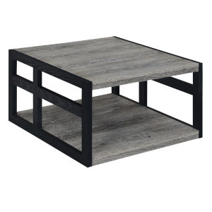 Monterey Weathered Gray Black Square Coffee Table