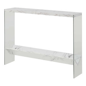 SoHo White Faux Marble Console Table with Shelf