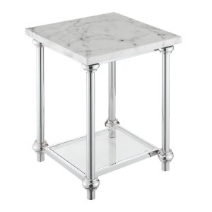 Roman II White Marble Chrome End Table