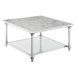 Roman II Faux White Marble Chrome Square Coffee Table