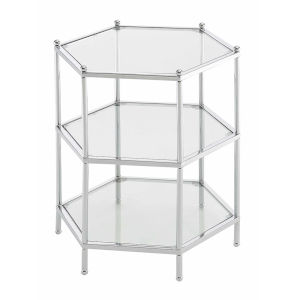 Royal Crest Clear Glass Chrome Frame Hexagonal Three-Tier Chrome End Table