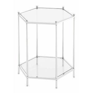 Royal Crest Clear Glass Chrome Frame Hexagonal Chrome End Table