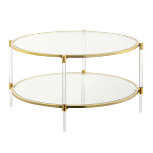 Royal Crest Clear and Gold Acrylic Glass Coffee Table