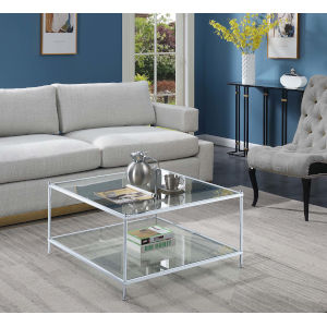 Royal Crest Clear Glass and Chrome 32-Inch Square Coffee Table