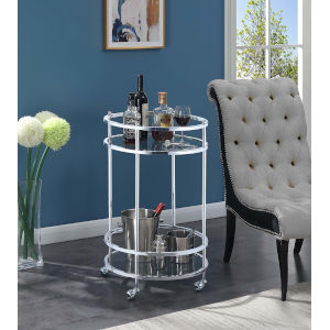 Royal Crest Clear Glass and Chrome 20-Inch Bar Cart with Wheel