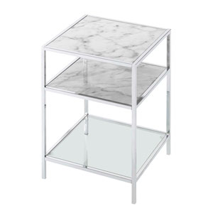 Gold Coast Carrara End Table in Faux White Marble and Chrome