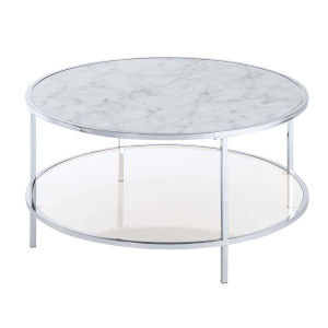 Gold Coast White Faux Marble Chrome MDF Round Coffee Table