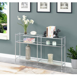 Royal Crest Clear Glass and Chrome Console Table