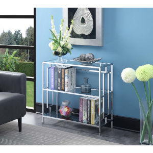 Town Square Clear Glass and Chrome 12-Inch Three Tier Wide Bookcase