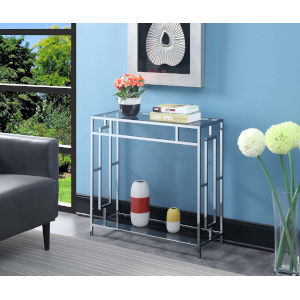 Town Square Clear Glass and Chrome 12-Inch Hall Table