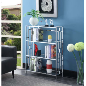 Town Square Clear Glass and Chrome 12-Inch Four Tier Wide Bookcase