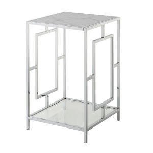 Town Square Faux White Marble and Chrome End Table