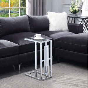Town Square Clear Glass and Chrome 10-Inch End Table
