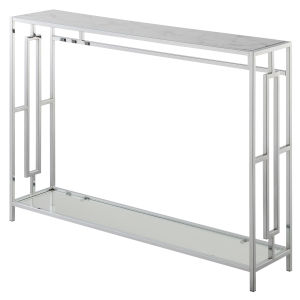 Town Square Faux White Marble and Chrome Console Table