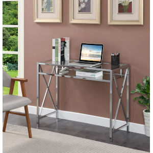 Oxford Clear Glass and Chrome Desk