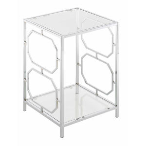 Omega Chrome End Table with Clear Glass