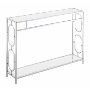 Omega Chrome Console Table with Clear Glass