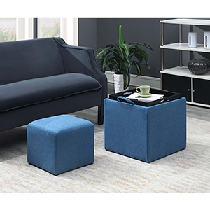 Designs4Comfort Blue Park Avenue Single Ottoman with Stool