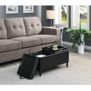 Designs 4 Comfort Black Faux Leather 16-Inch Storage Ottoman with Trays