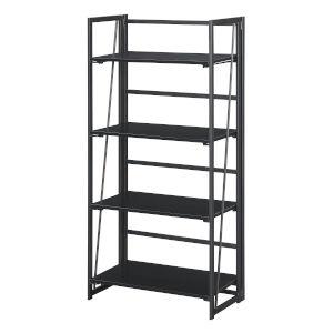 Xtra Black Folding Four Tier Bookshelf