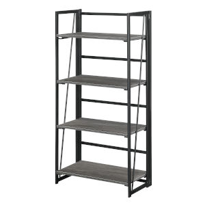 Xtra Charcoal Gray and Black Folding Four Tier Bookshelf