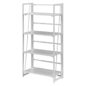 Xtra White Folding Four Tier Bookshelf