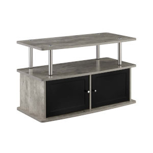 Designs2Go Faux Birch TV Stand with Two-Storage Cabinets and Shelf