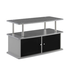 Designs2Go Gray TV Stand with Two-Storage Cabinets and Shelf