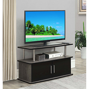 Designs2Go Gray Deluxe Two Door TV Stand with Cabinets