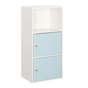 White and Sea Foam 35-Inch Xtra Storage Two Door Cabinet