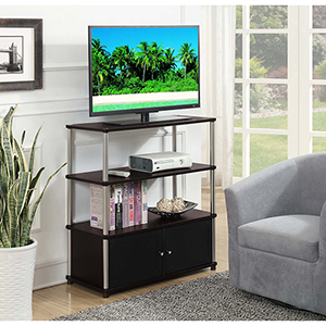 Designs2Go Espresso Highboy TV Stand with Black Doors
