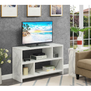 Northfield White TV Stand Console with Shelves