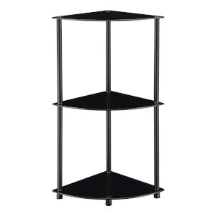 Designs2Go Classic Black Three-Tier Corner Shelf