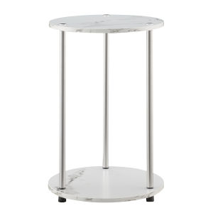 Design2Go Faux White Marble and Chrome Two-Tier Round End Table
