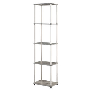 Design2Go Faux Gray Marble and Chrome Five-Tier Tower
