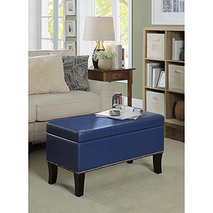 Designs4Comfort Blue Winslow Storage Ottoman