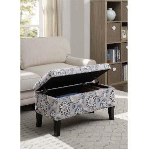 Designs4Comfort Gray Flora 16-Inch Storage Ottoman