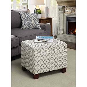 Designs4Comfort White and Black Madison Storage Ottoman
