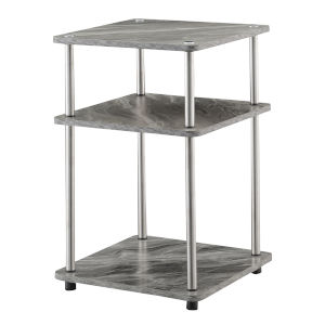 Design2Go Faux Gray Marble and Chrome Three-Tier End Table