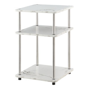 Design2Go Faux White Marble and Chrome Three-Tier End Table